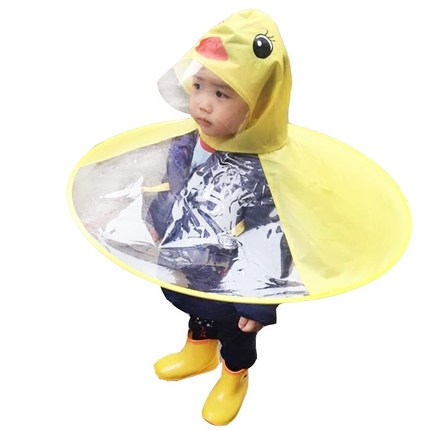 抖音同款:儿童小黄鸭斗篷雨衣