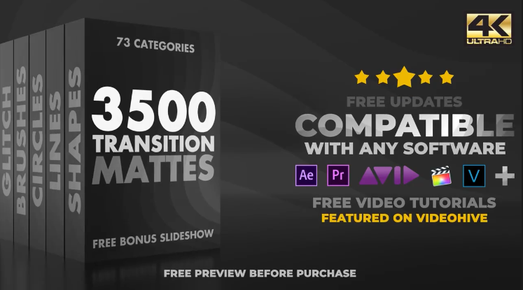 转场视频素材 3500个遮罩蒙板转场过渡动画4K视频高清素材