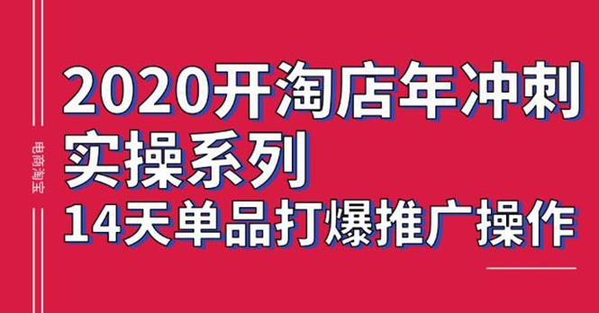 2020淘宝冲刺实操 14天单品打爆推广操作 抖音拉爆销量核心技巧(价值4288)