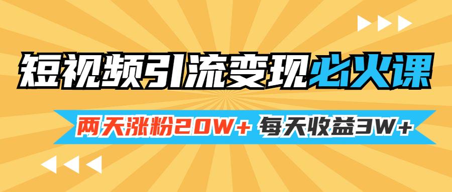 小明兄短视频引流变现必火课 两天涨粉20W+ 每天收益3W+(全套实操课)